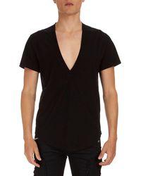 Balmain - Deep V Cotton T-shirt - Lyst