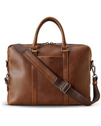 Shinola Men's Navigator Leather Laptop Briefcase - Brown