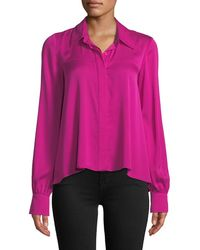 MILLY - Penelope Button-front Long-sleeve Silk-stretch Top - Lyst
