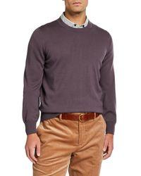 Brunello Cucinelli Men's Cashmere-blend Crewneck Sweater - Purple