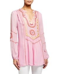 Tolani Lauren Embroidered Tunic - Pink