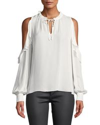 Parker Marjorie Cold Shoulder Ruffle Blouse - White