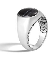 John Hardy Men's Classic Chain Silver Signet Ring With Banded Agate - Metallic
