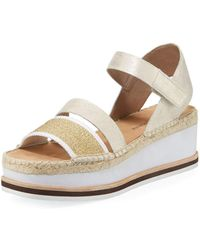 Donald J Pliner - Anie Platform Mesh/metallic Brush-off Wedge Sandals - Lyst