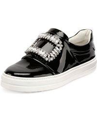 Roger Vivier - Patent Strass Buckle Sneaker - Lyst