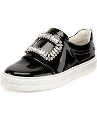 Roger Vivier - Patent Strass Buckle Sneakers - Lyst