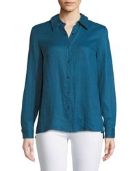 Elie Tahari - Bowen Crinkle-texture Blouse With Lace Back - Lyst