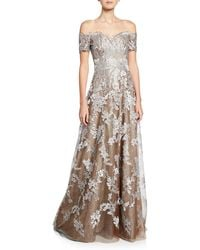 Rene Ruiz Off-the-shoulder Sweetheart Short-sleeve Metallic Lace Gown