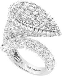 Boucheron Serpent Boheme 18k White Gold Diamond Large Ring, Size 53 - Multicolour