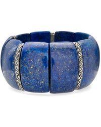 Stephen Dweck Lapis & Flower Stretch Bracelet - Blue