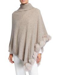 Sofia Cashmere Cashmere Turtleneck Poncho W/ Fur Trim - Multicolor