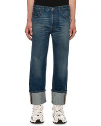 Valentino Men's Relaxed-fit Cuffed-hem Jeans - Blue