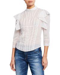 Étoile Isabel Marant Anny Embroidered Ruffle Blouse - White