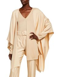 Sally Lapointe Silky Twill Wrapped Cape - Natural