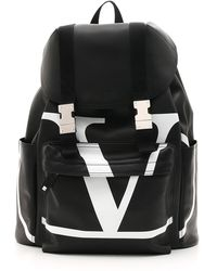 Valentino - Men's Vl Logo-front Leather Backpack - Lyst