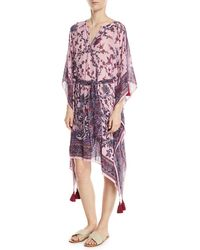 Figue - Fabrizi Belted Floral-print Silk Caftan Dress - Lyst