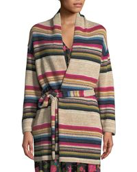 Figue Camille Striped Wrap-front Cardigan - Multicolor