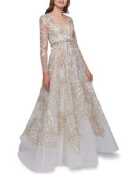 Mac Duggal Embellished V-neck Illusion Long-sleeve Gown W/ Beaded Waist - Metallic