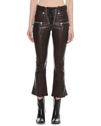 Unravel - Lace-up Flared-leg Cropped Leather Pants - Lyst