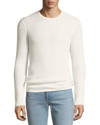 John Varvatos - Men's Waffle-knit Crewneck Sweater - Lyst