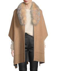 Sofia Cashmere Double-face Cashmere Cape W/ Fur Collar - Multicolor