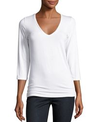 Neiman Marcus - Soft Touch 3/4-sleeve V-neck Tee - Lyst