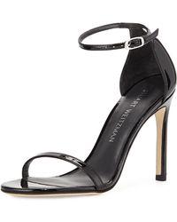 Stuart Weitzman - Nudistsong 90mm Minimalist Leather Sandals - Lyst