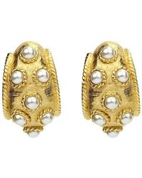 Ben-Amun Thick Pearly Clip-on Earrings - Metallic
