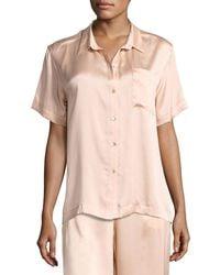 Asceno - Short-sleeve Silk-satin Pajama Top - Lyst