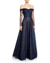 Rene Ruiz Ombre Embellished Off-the-shoulder Long-sleeve Shirred Gown - Blue