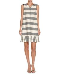 Piazza Sempione - Striped Canvas Sleeveless Dress - Lyst