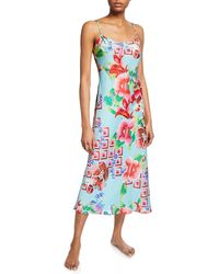 Natori Star Blossom Satin Slip Nightgown - Multicolour