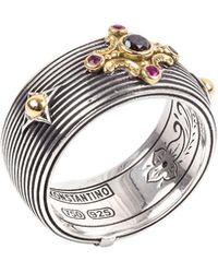 Konstantino - Delos Black Diamond & Ruby Cigar Band Ring, Size 7 - Lyst