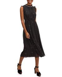 Kate Spade Wavy Dot Sleeveless Silk Dress - Black