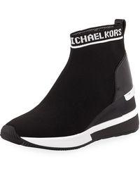 MICHAEL Michael Kors Women's Skyler Knit Slip - On Sneaker Boots - Black