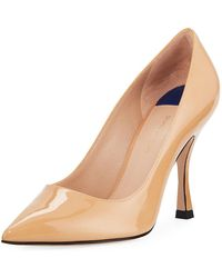 2c701fe48b8 Lyst - Stuart Weitzman Tippi Low-heel Leather Pointed-toe Pumps in ...