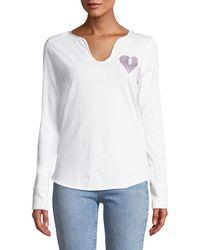 Zadig & Voltaire - Split-neck Embellished Long-sleeve Shirt - Lyst