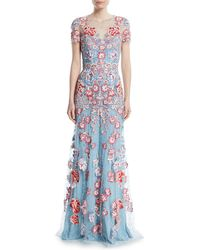 Jenny Packham - Floral-embroidered Short-sleeve Evening Gown - Lyst