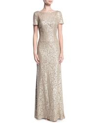 La Femme - Boat-neck Short-sleeve Lace Embroidered Evening Gown - Lyst