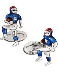 Jan Leslie Men's Football Player Moving Cufflinks - Blue