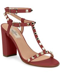 602a807182b0 Lyst - Valentino Lacquered Rockstud Chunky-heel Sandal