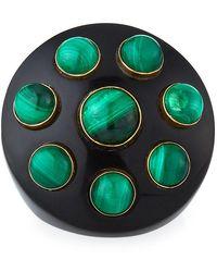 Nest Malachite Studded Horn Ring, Size 7 - Green