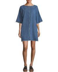 Robert Rodriguez - Drop-shoulder Distressed Denim Shift Dress - Lyst
