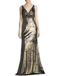 THEIA | Sleeveless Wide V-neck Metallic Evening Gown W/ Embellishments | Lyst