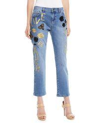 ESCADA - Love Live Laugh Straight-leg Cropped Jeans - Lyst