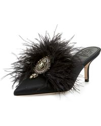 Tory Burch - Elodie Feather Embellished Satin Mule - Lyst