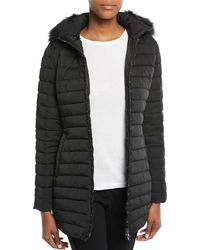 Emporio Armani Zip-front Fitted Quilted Puffer Parka Jacket W/ Detached Hood - Black