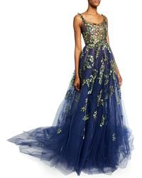 Oscar de la Renta Structured Gown With Botanical Embroidery - Blue