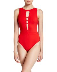 Shan Les Essentiels High-neck Underwire One-piece Solid Swimsuit - Red