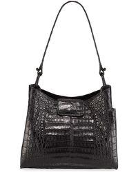 Nancy Gonzalez Medium Soft Crocodile Hobo Bag - Black